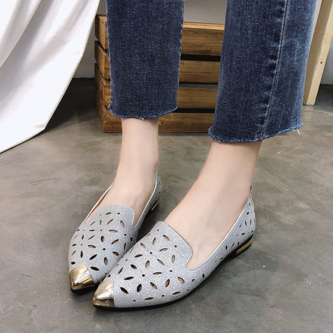 New  Solid Paillette Pointed Toe Casual Single Flat Shoes