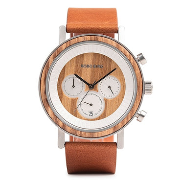 Stainless Steel Wooden Watch Chronograph Sport Waterproof Military Watches