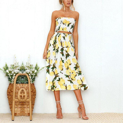 Sweet Sexy Strapless Lemon Printed Midi Dress