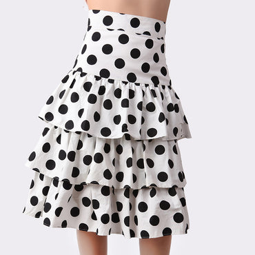 black white Polka Dot ruffles Chiffon skirt
