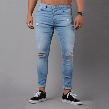 Skinny Blue Vintage Denim Casual Stretch Sexy Hole Ripped Jeans