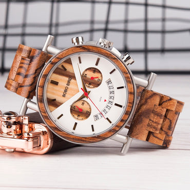 Stainless Steel Waterproof Wristwatch with Date and Multiple Time Zone Wood Watches