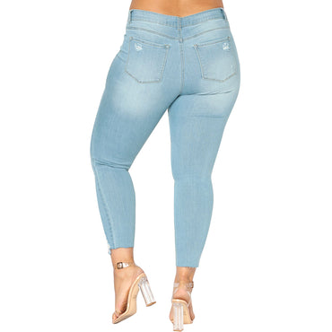 Slim Denim Destroyed Hole High Waist Jeans