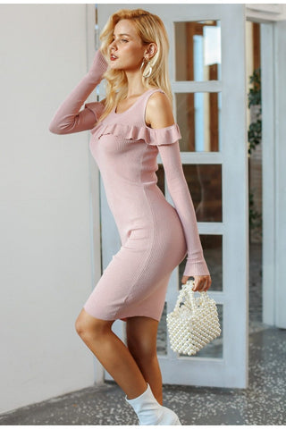 Sexy off shoulder ruffle sweater dress