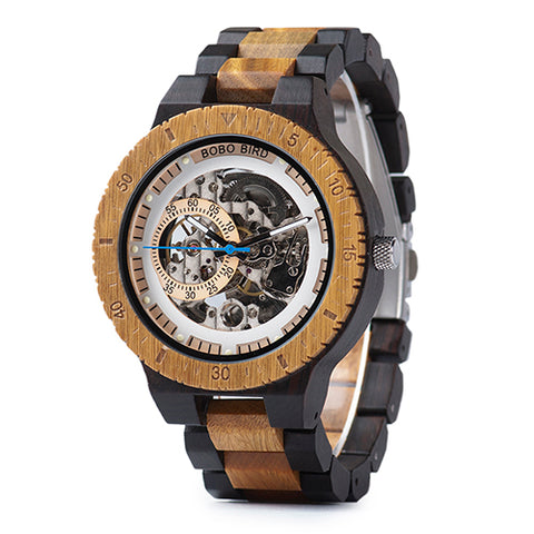 Wooden Mechanical Watch Automatic and Multi-Functional Wristwatch