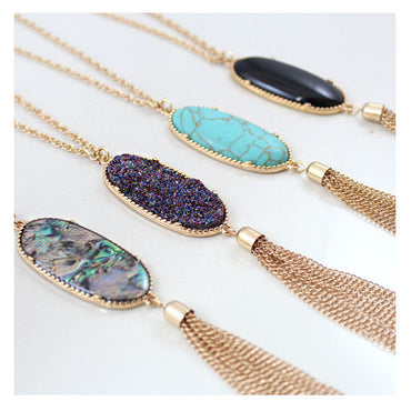 Colorful Natural Abalone Shell Tassel Necklace Gold Color Long Chain Bohemia Pendant Necklaces