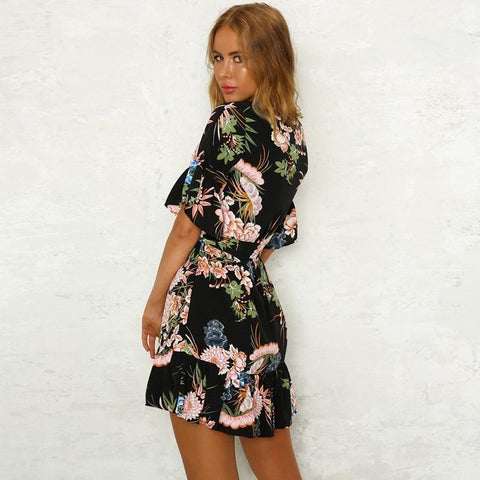 Floral Printed Dress Casual Flare Sleeve O-Neck Ruffles Dress