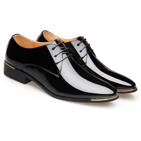 Breathable Men Formal Shoes Casual Pointed Toe Patent Leather Oxford Shoes