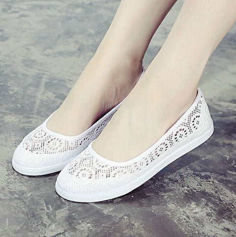 Casual Cutouts Lace Canvas Flat Shoes
