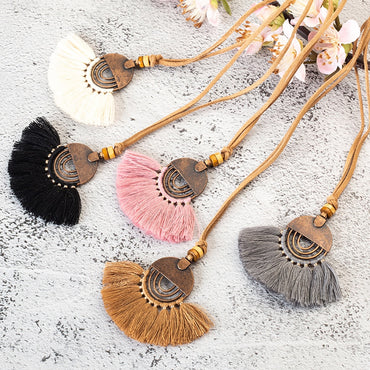 Ethnic Long Leather Women's necklaces Bohemia Round Hollow Tassel necklace