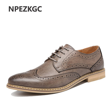 Fashion Vintage British Style Casual Men Shoes Oxfords Business Man Flats Footwear
