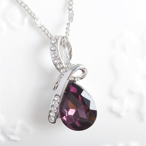 10 Colors Austrian Crystal Water Drop Pendants&Necklaces