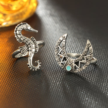Bohemian Silver Moon Sea Horse Finger Ring Set