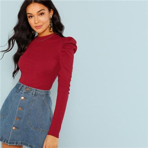 Burgundy Elegant Office Lady Puff Sleeve Rib Knit Solid Pullovers Slim Fit Tee  Autumn Casual Women T-shirt And Top