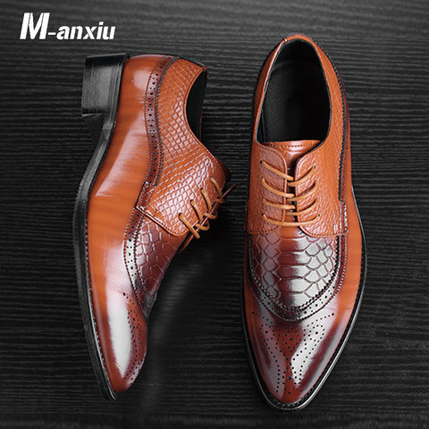 Fashion Patchwork Brogue Shoes Carved Upper Breathable Business Shoes
