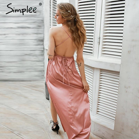 Slip satin backless sexy long dress