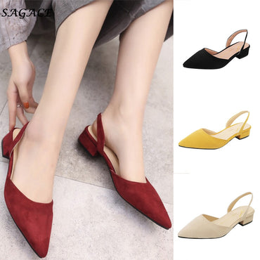 Pumps Ankle Strap Thick Heel Square Toe Mid Flat Shoes