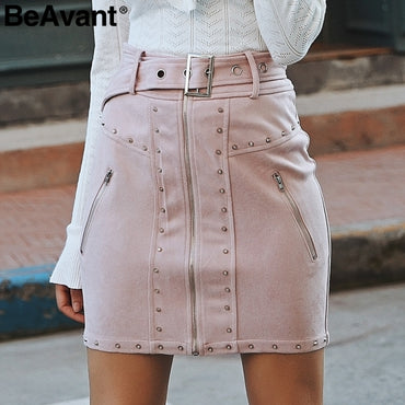 waist zipper rivet suede skirts
