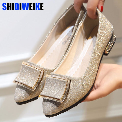 Cool Golden Buckle Flat Shoes