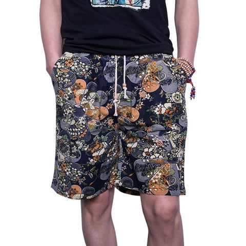 Trousers Male Camouflage Fashion Flowers Print Straight Short