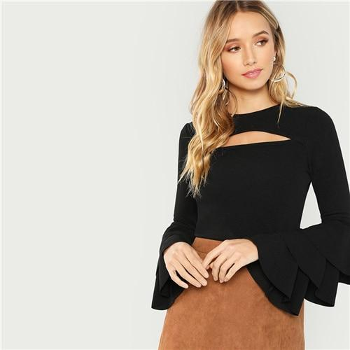 Black Cut Front Tiered Layered Sleeve Solid Tee Sexy Long Sleeve Round Neck T-shirt Women Autumn Plain Stretchy Tops