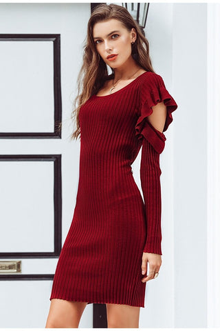 Sexy bodycon cold shoulder knitted sweater dress