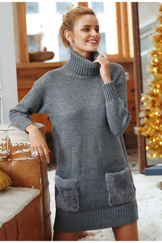 S Elegant turtleneck knitted women sweater dress