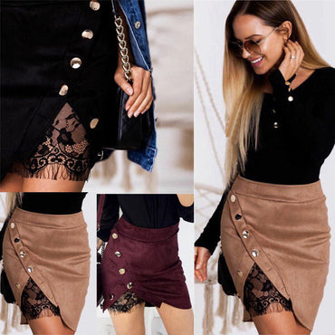 High Waist Suede Skirts