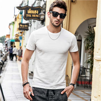 New Fashion Men Cotton Solid Striped t Shirt