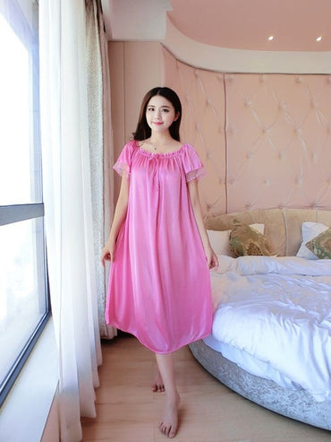 Sexy Silk Nightgowns Casual Chemise Nightie Nightwear Lingerie Nightdress Sleepwear