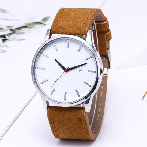 Fashion Simple Mens Watches Complete Calendar Wristwatch Gents Business Brown Leather Quartz Watch Men relogio masculino