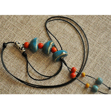 Ethnic Style Ceramic Beads Strand Necklace  Sweater Chain