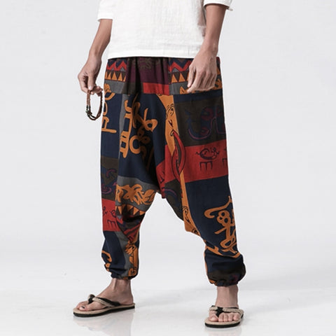 Cotton Linen Harem Pants Vintage Hip Hop Baggy Wide Leg Pants