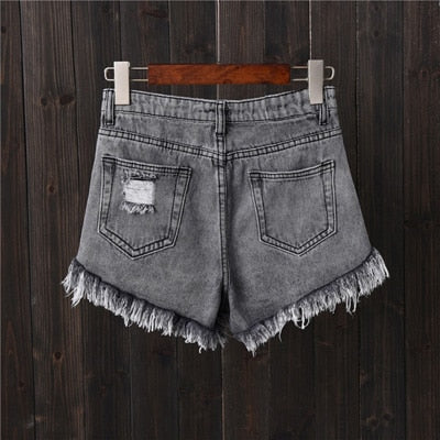 High Waist Tassel Style Ripped Shorts