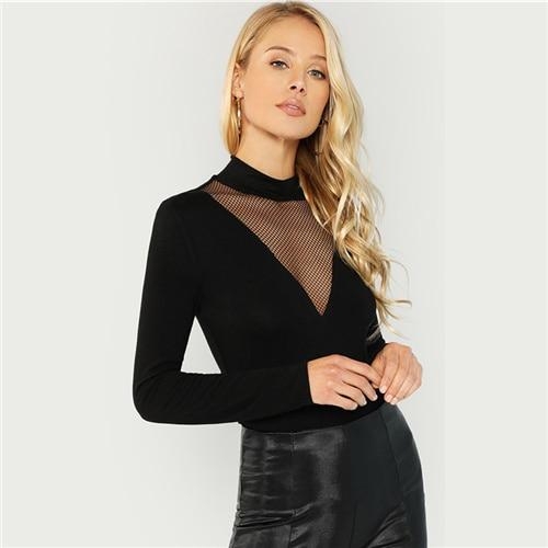 Black Mesh Insert Mock Neck Tee Elegant Long Sleeve Stretchy Slim Fit Tops Women Autumn Stand Collar Workwear T-shirt