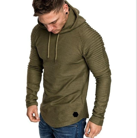 Hot Sale Solid Color Hooded Sling Sweatshirt Men Hoodie