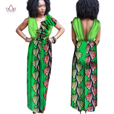 Sleeveless Jumpsuit Long Pants African Clothing Out Off Shoulder Jumpsuits