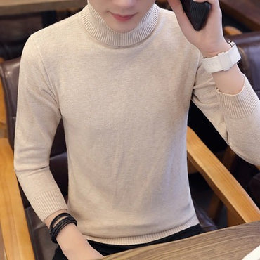 Turtleneck Solid Color Knitted Pullover Sweaters