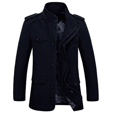 Casual Jacket Stand Collar  Fat Slim Washed Cotton Long Jackets & Coat