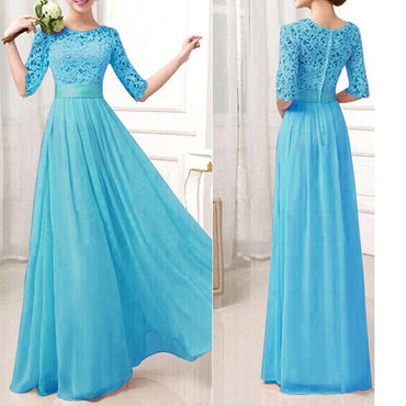 Long Dress Lace Chiffon Maxi Gown Elegant Princess Dress