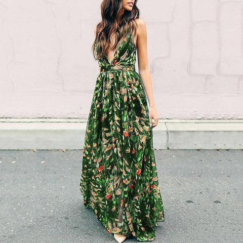 Autumn Sexy V-Neck High-Waist Spaghetti Strap Pullover Floral Dress