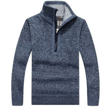 Zipper Pullovers Stand Collar Slim Fit Thick Sweaters