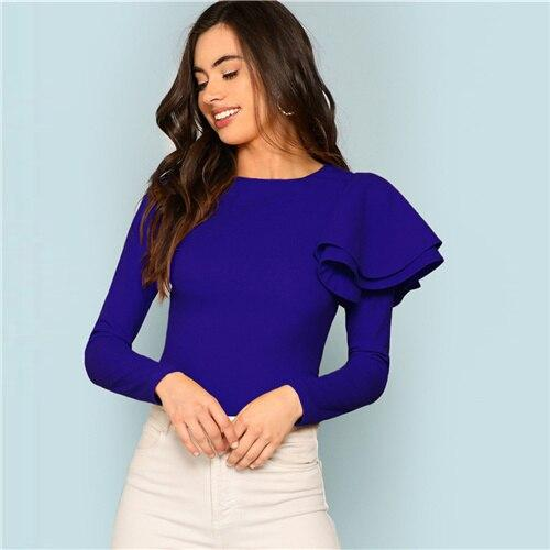 Blue Modern Lady Weekend Casual Round Neck Zip Back Ruffle One Sleeve Long Sleeve Tee Autumn Women Fashion Tshirt Top