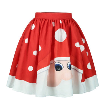 High Waist Short Skirt Christmas Xmas Santa Claus Skirt