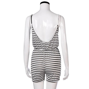 Backless Striped Beach Casual Overalls Tunique Rompers