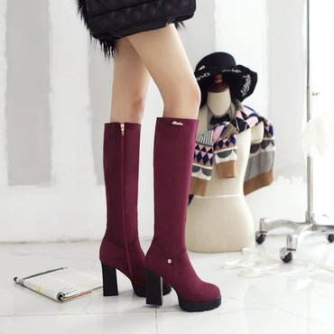 Platform Chunky High Heel Knee High Boots