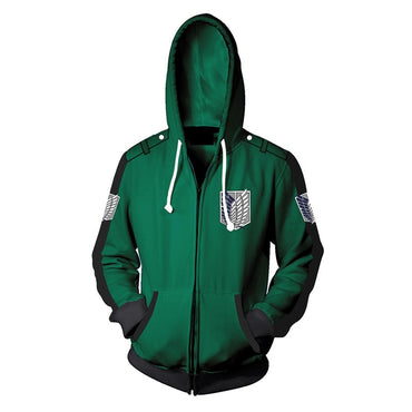 Zipper Jackets Anime Attack on Titan 3d Printed Hooded Hoodies