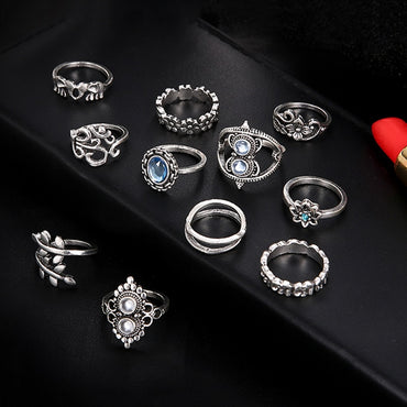 11 pcs/set Bohemian retro elephant flower leaves cross exaggerated gem silver ring