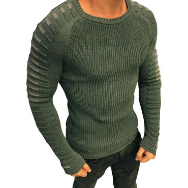 2018 New Casual Slim Fit Pullover Man Autumn Round Neck Knitted Striped Sweaters