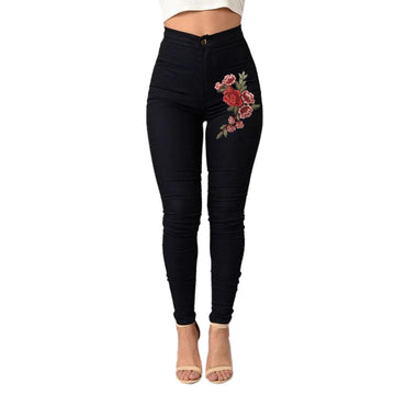 Fashion Sexy Women Skinny Floral Applique Jeans High Waist